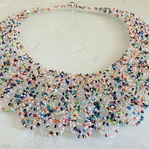 Glass Bead Scalloped CRYSTAL MULTI-COLOR Necklace